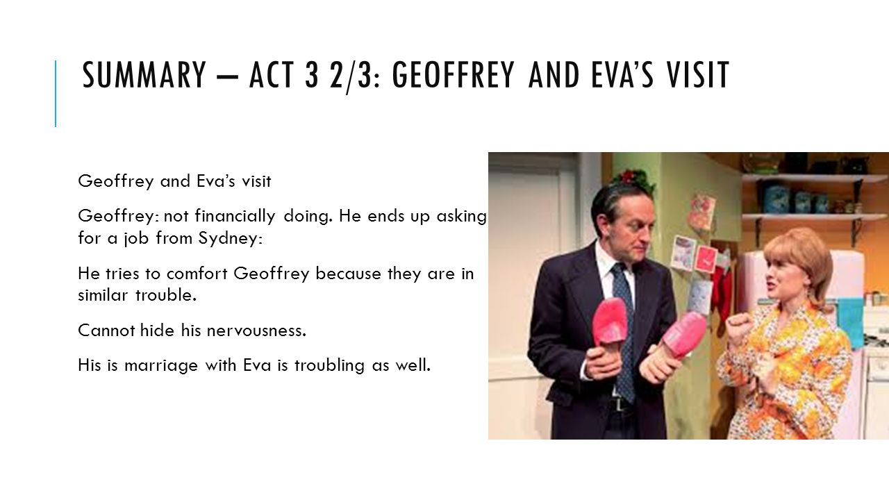 Summary – act 3 2/3: Geoffrey and Eva's visit