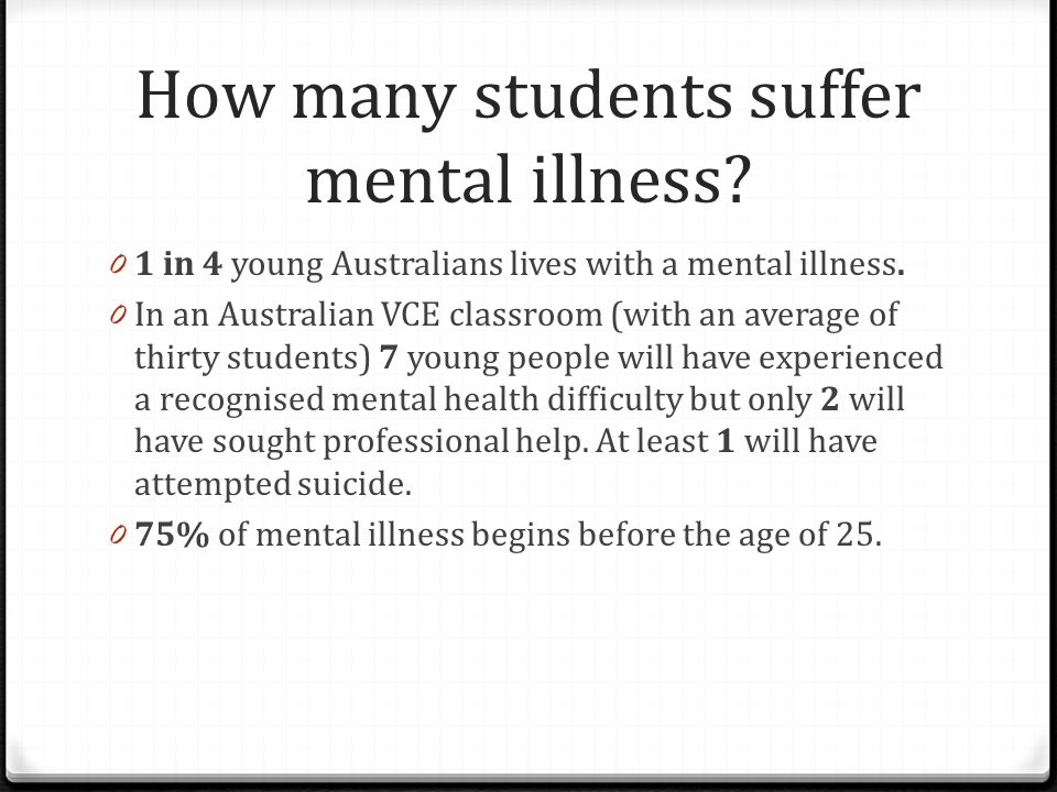 How many students suffer mental illness