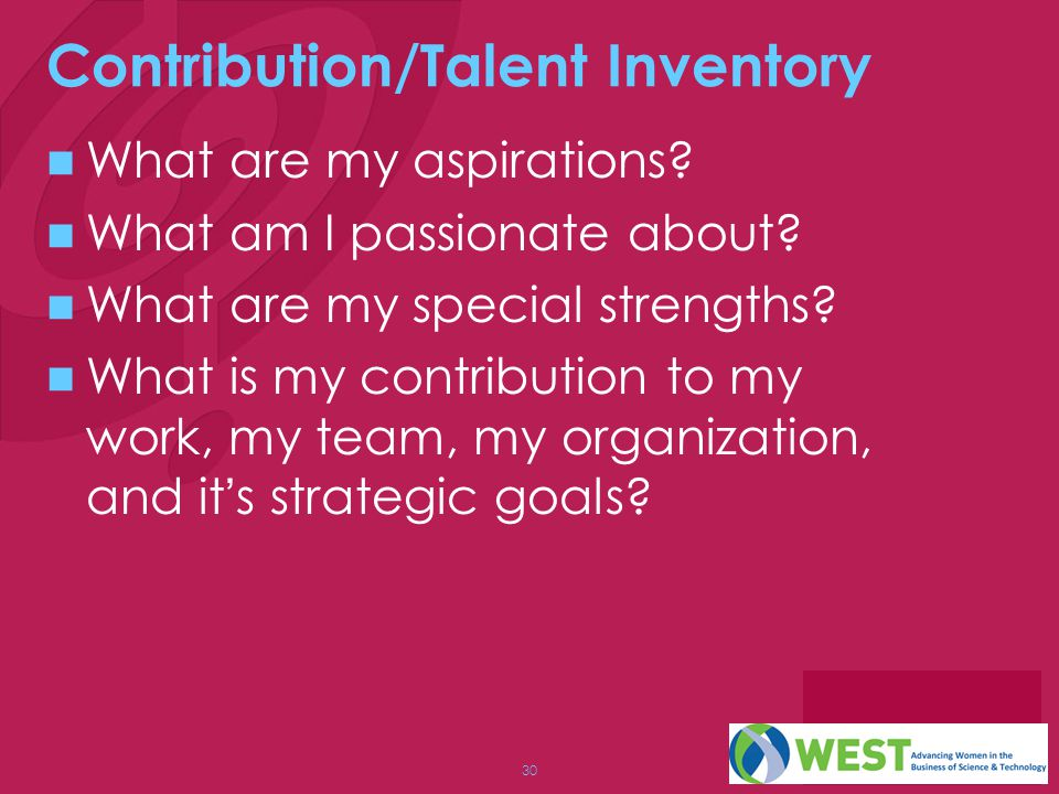 Contribution/Talent Inventory