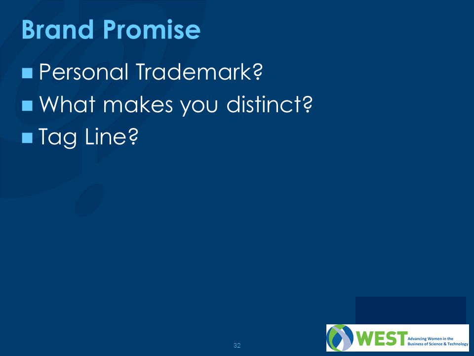 Brand Promise Personal Trademark What makes you distinct Tag Line
