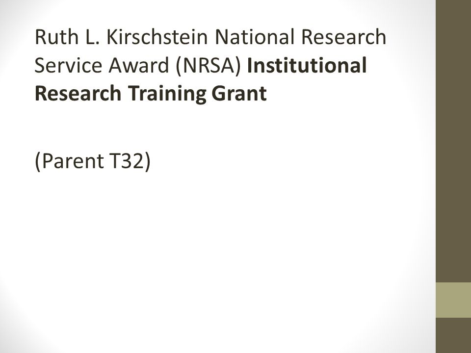 Ruth L. Kirschstein National Research Service Award (NRSA) Institutional Research Training Grant