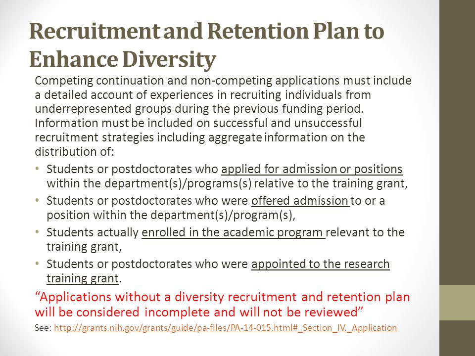 Recruitment and Retention Plan to Enhance Diversity