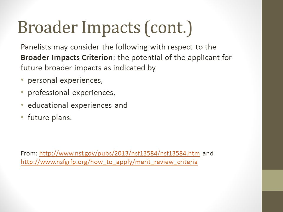 Broader Impacts (cont.)