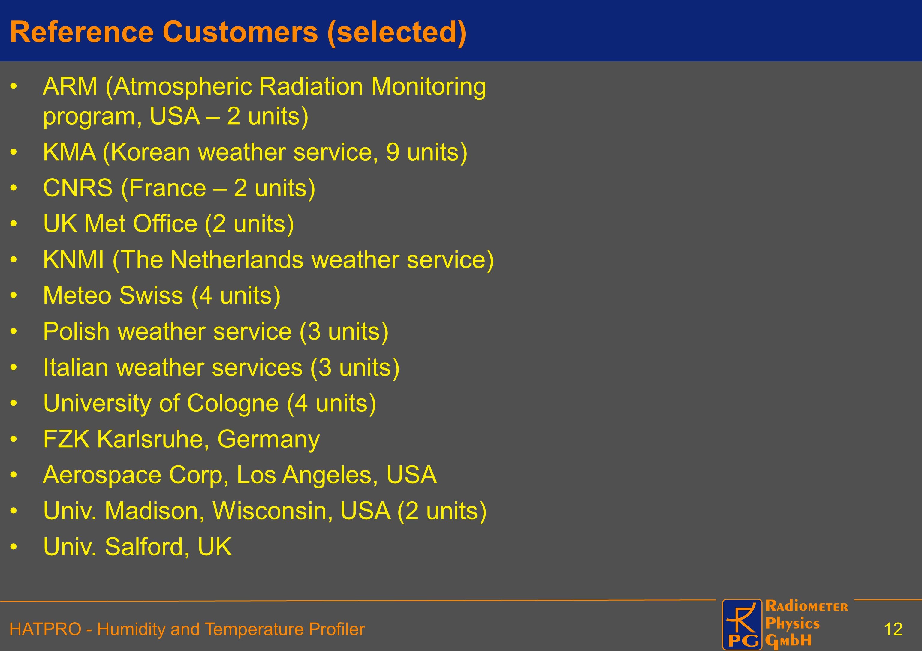 Reference Customers (selected)