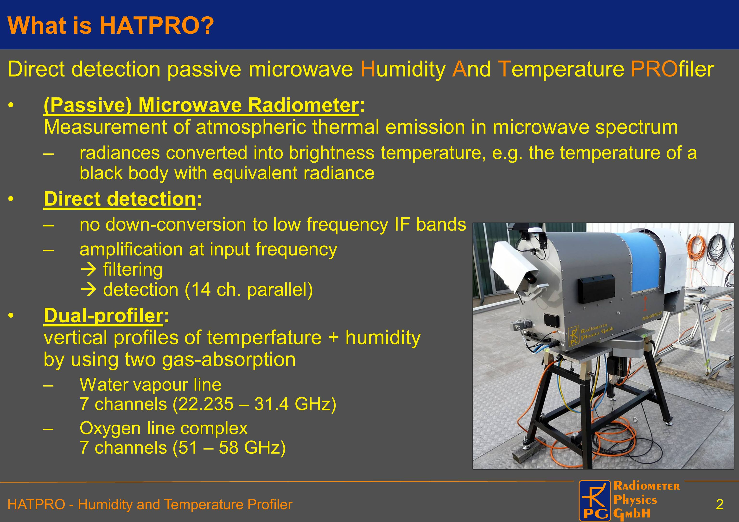 What is HATPRO Direct detection passive microwave Humidity And Temperature PROfiler.