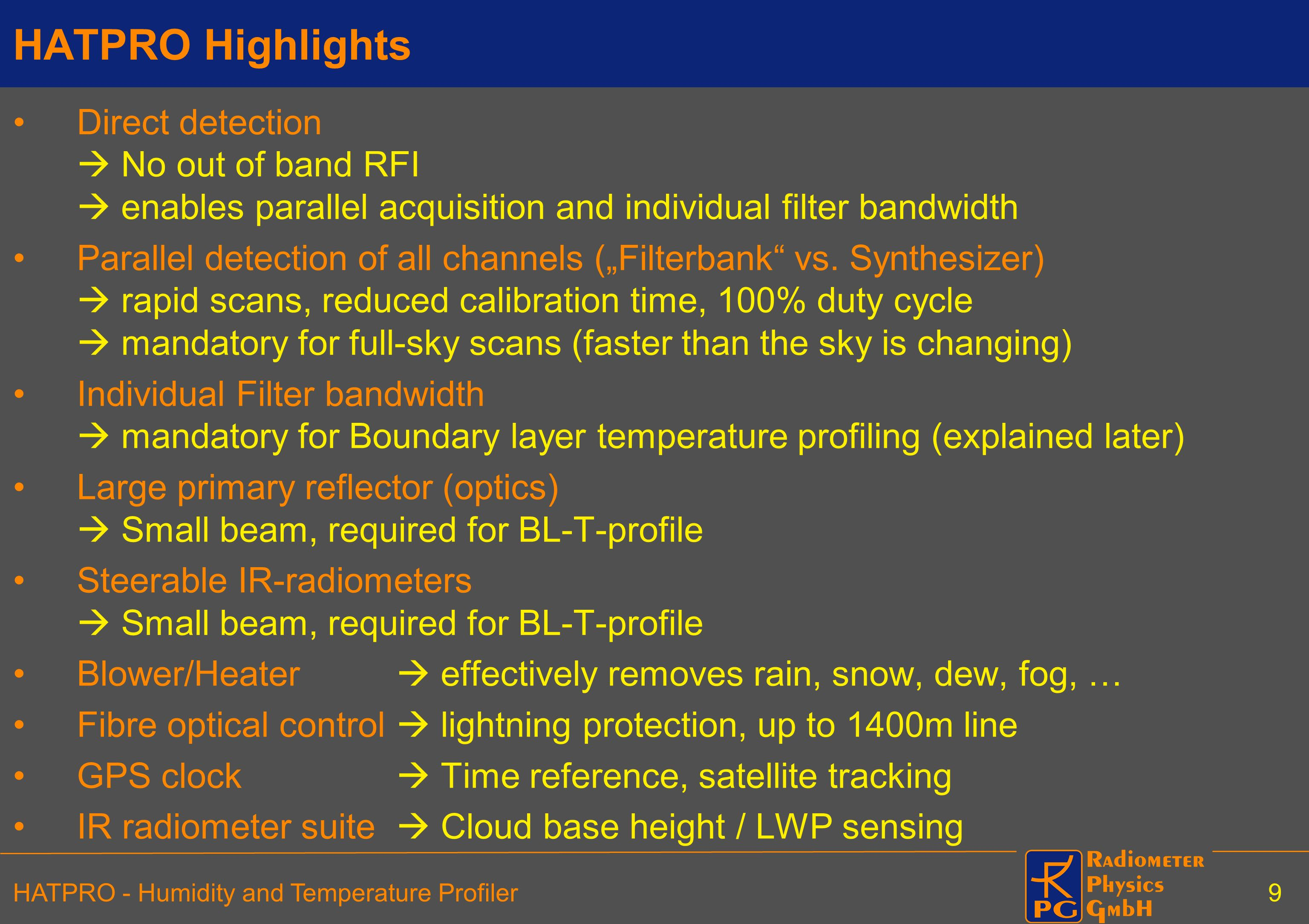 HATPRO Highlights Direct detection  No out of band RFI  enables parallel acquisition and individual filter bandwidth.