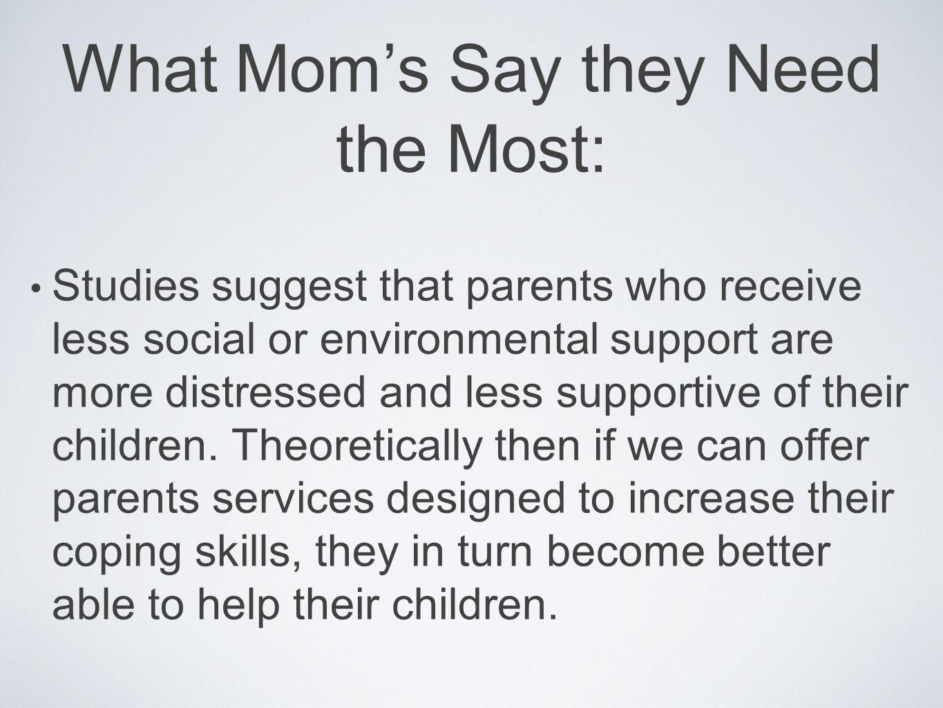 What Mom's Say they Need the Most: