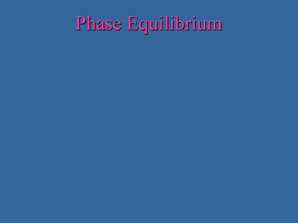 Phase Equilibrium At a constant pressure simple compounds (like ice) melt at a single temperature.