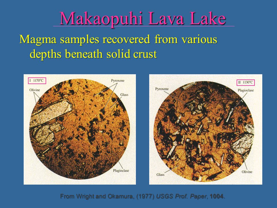 Makaopuhi Lava Lake Magma samples recovered from various depths beneath solid crust.