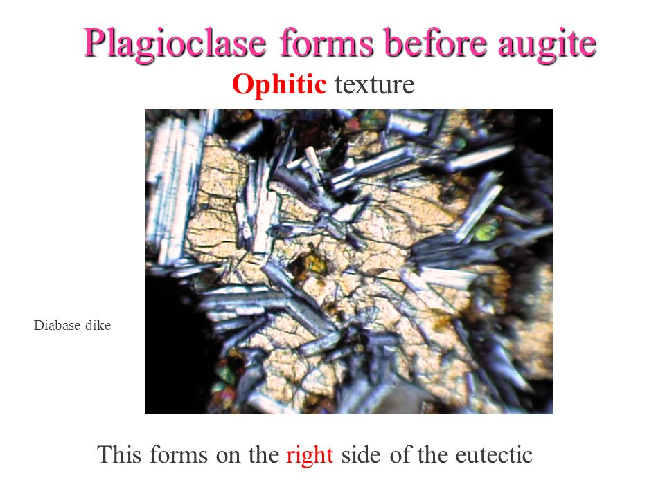 Plagioclase forms before augite