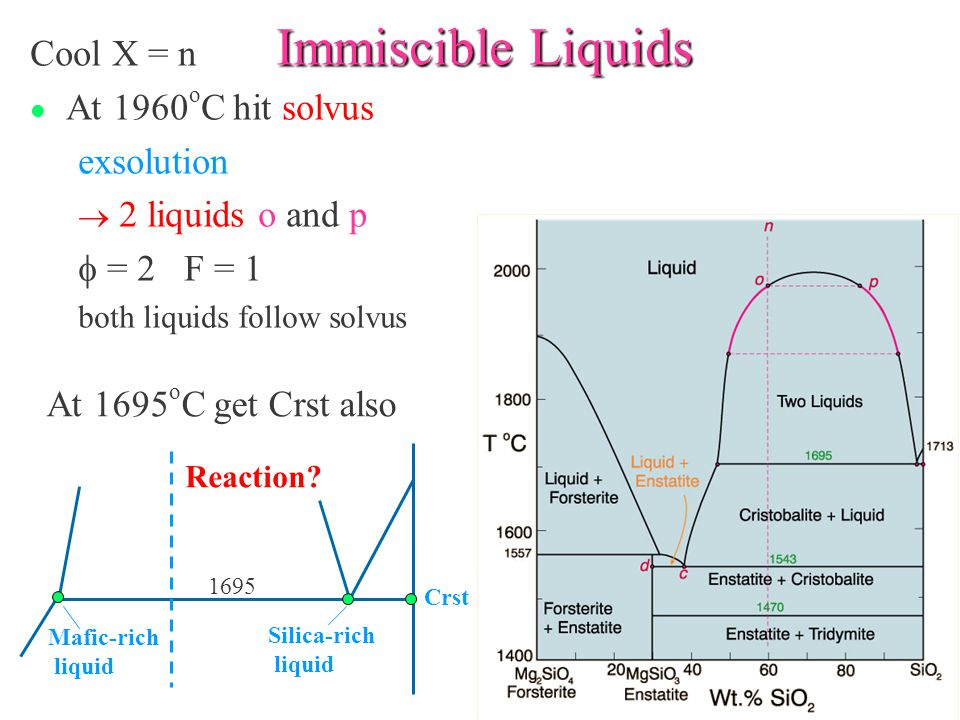 Immiscible Liquids Cool X = n At 1960oC hit solvus exsolution