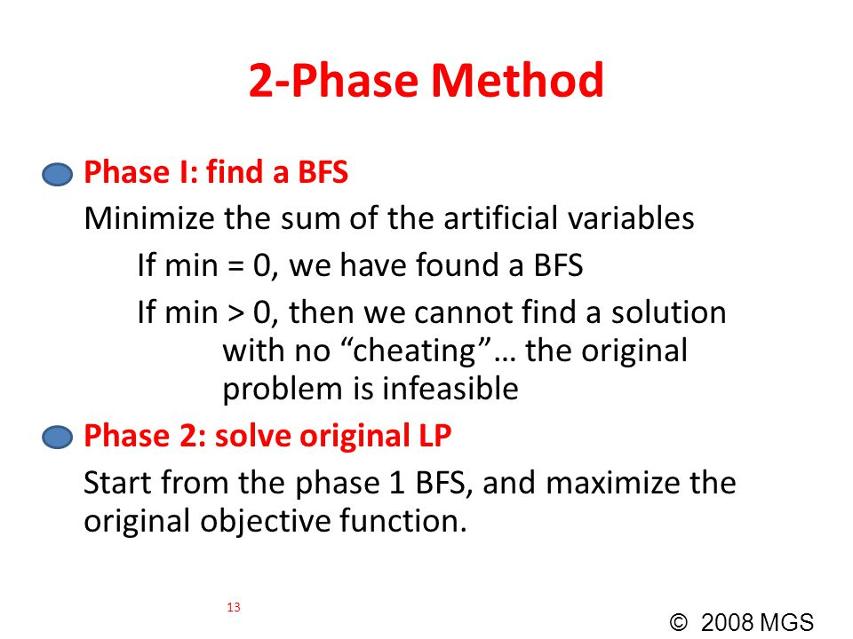 2-Phase Method Phase I: find a BFS