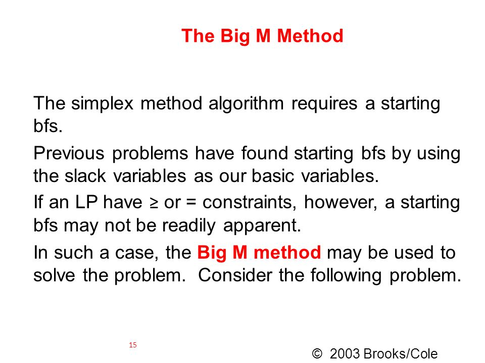 The simplex method algorithm requires a starting bfs.