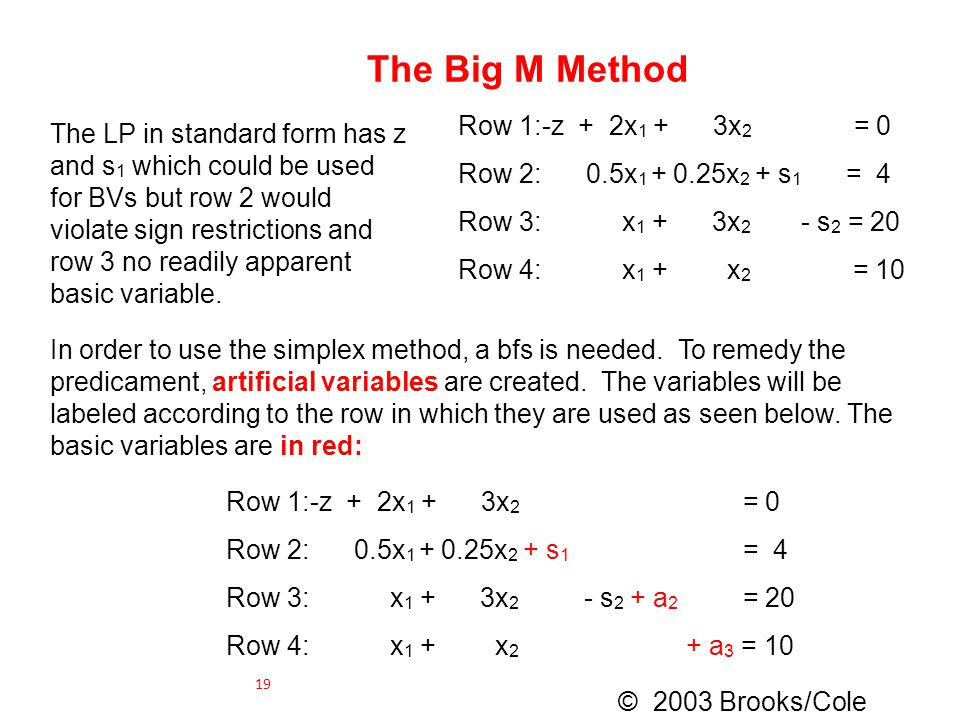 The Big M Method Row 1:-z + 2x1 + 3x2 = 0