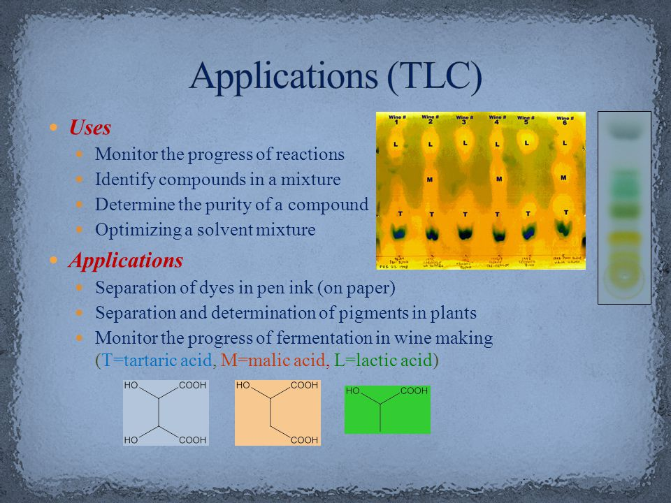 Applications (TLC) Uses Applications Monitor the progress of reactions