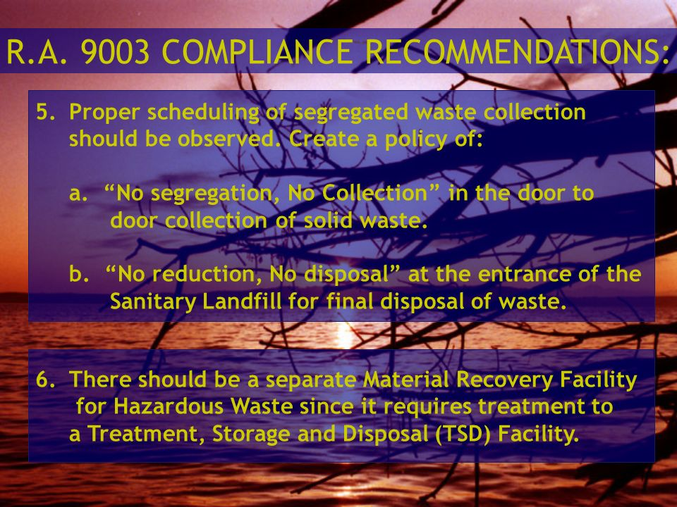 R.A. 9003 COMPLIANCE RECOMMENDATIONS: