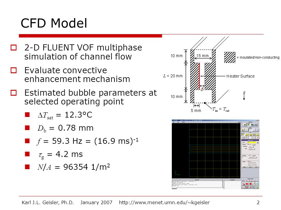 CFD Model 2-D FLUENT VOF multiphase simulation of channel flow