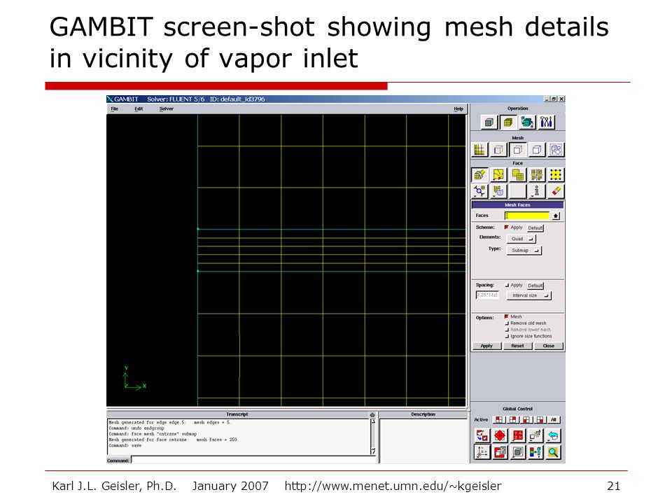 GAMBIT screen-shot showing mesh details in vicinity of vapor inlet