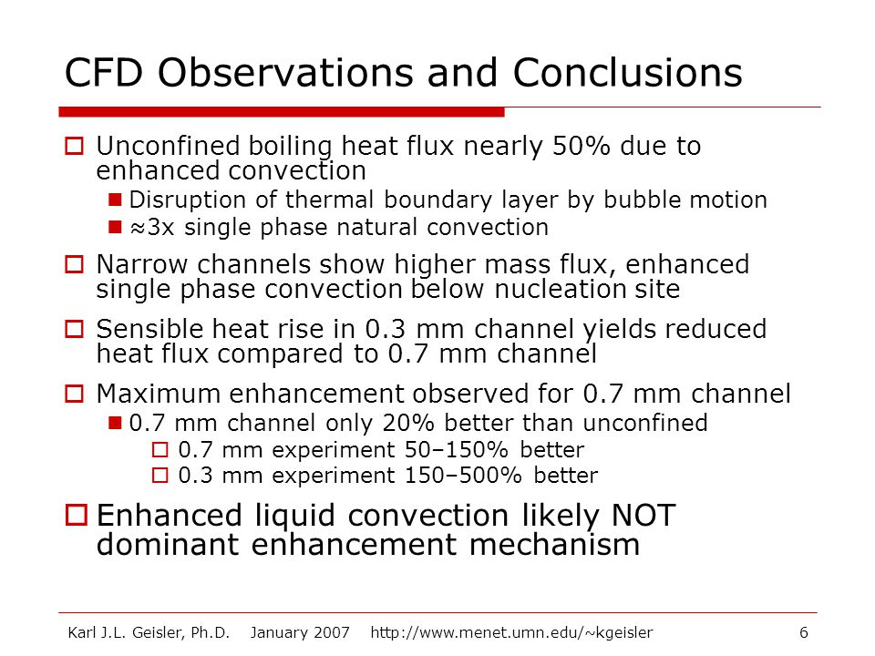 CFD Observations and Conclusions