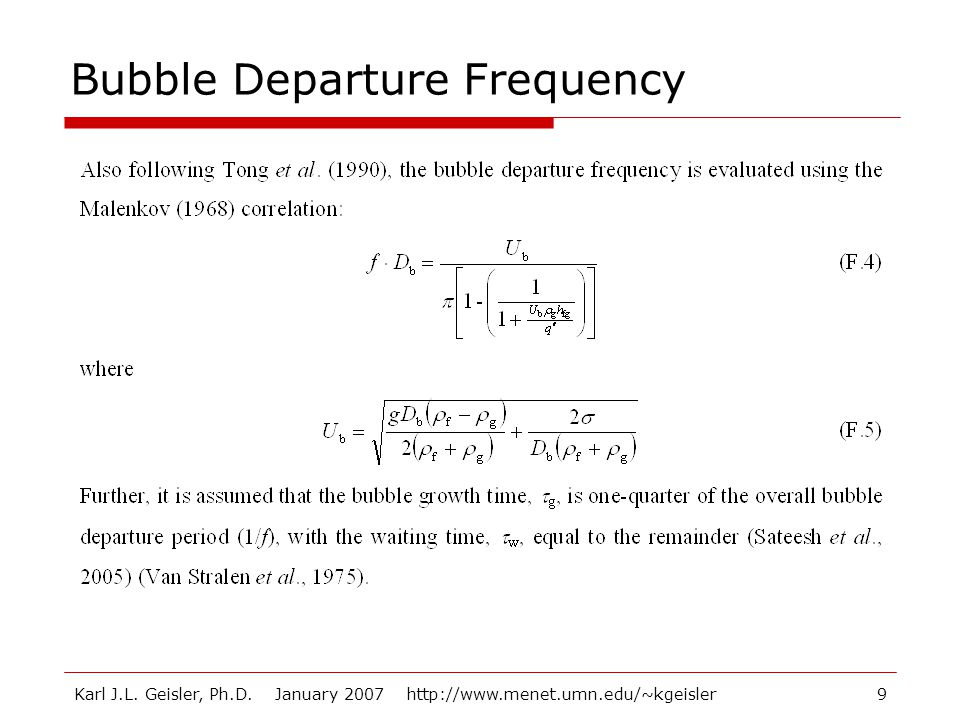 Bubble Departure Frequency