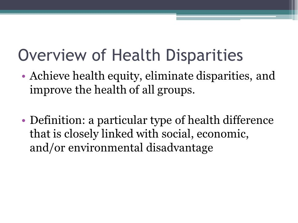 Overview of Health Disparities