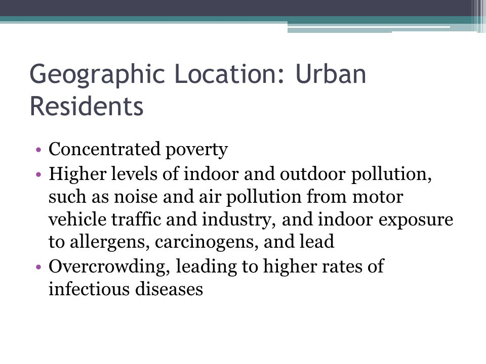 Geographic Location: Urban Residents