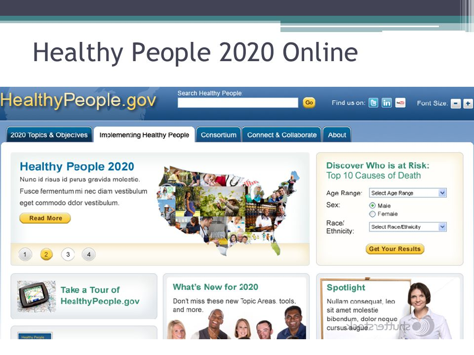 Healthy People 2020 Online This site is still under development, so there may be some changes when you see it at launch.