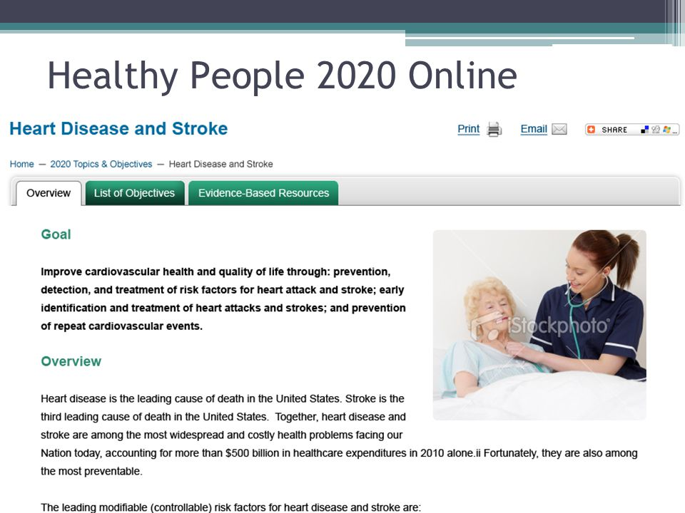 Healthy People 2020 Online You will find the overview and additional tabs that direct you to list of objectives and evidence based resources .