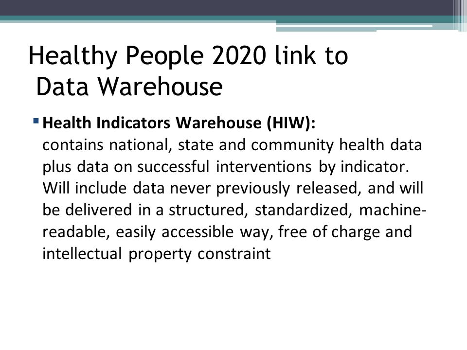 Healthy People 2020 link to Data Warehouse