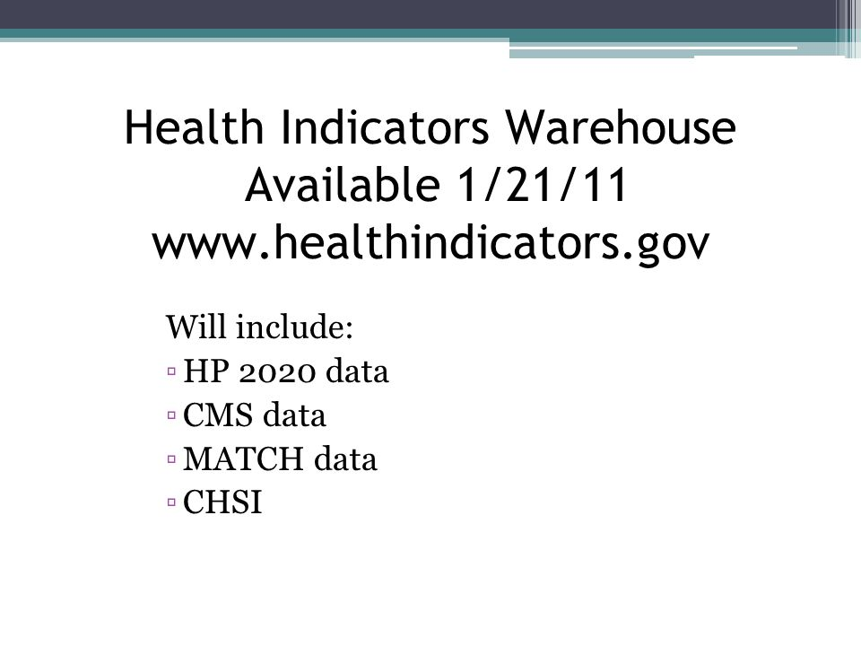 Health Indicators Warehouse Available 1/21/11 www.healthindicators.gov