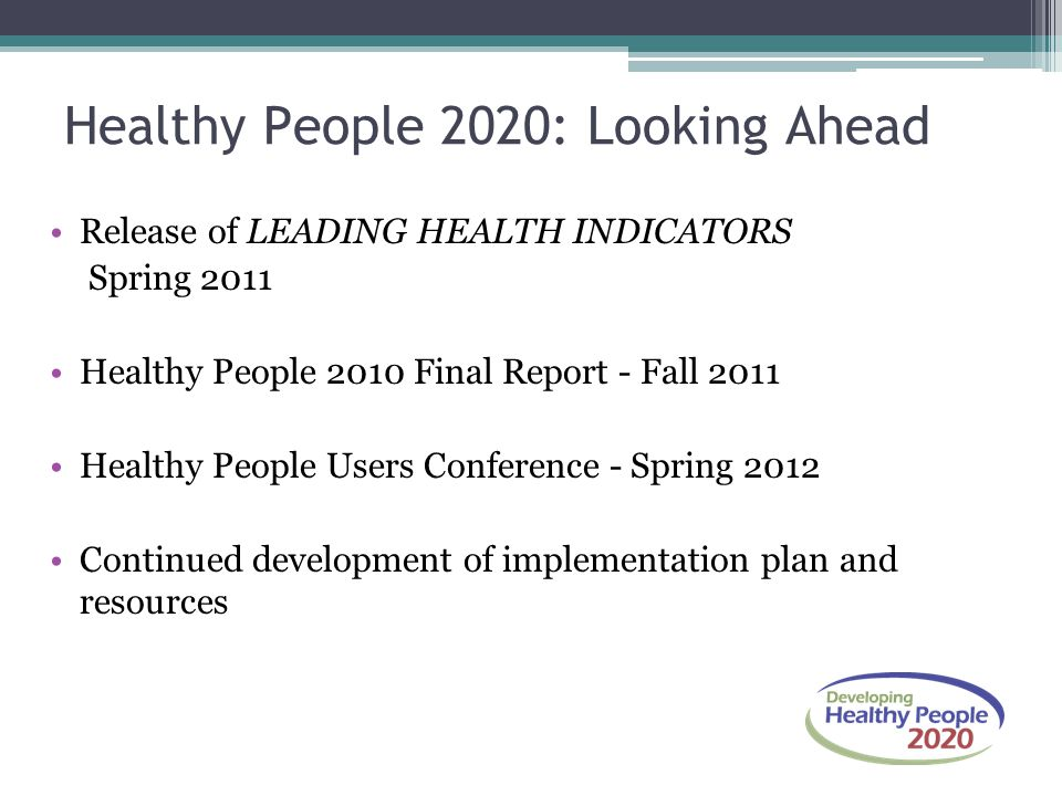Healthy People 2020: Looking Ahead
