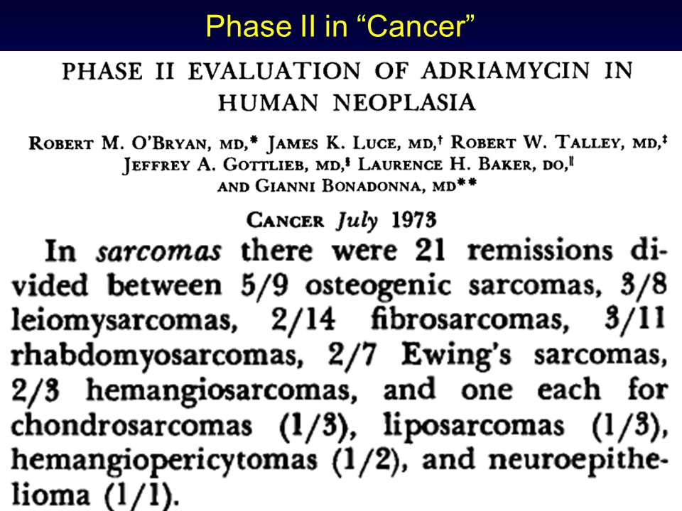 Phase II in Cancer 1972 Doxorubicin and DTIC Activity