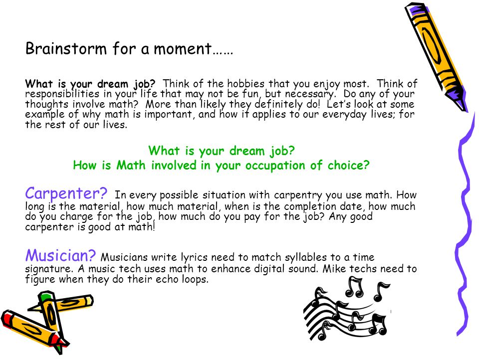 How is Math involved in your occupation of choice