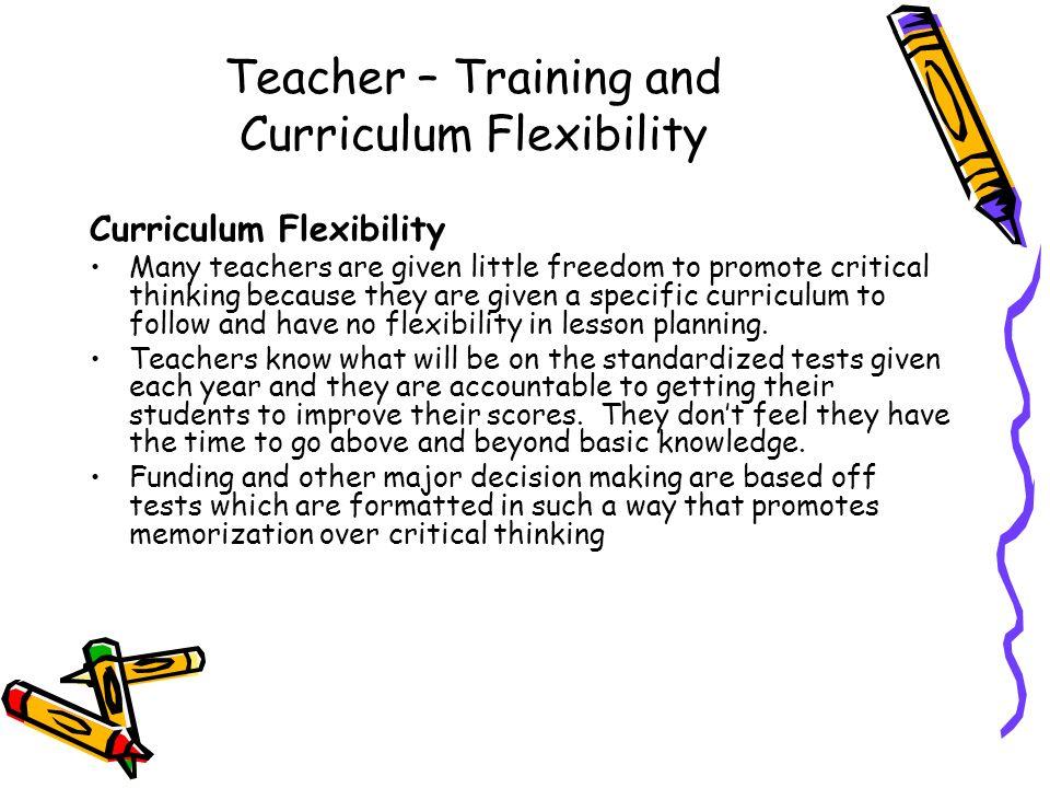 Teacher – Training and Curriculum Flexibility