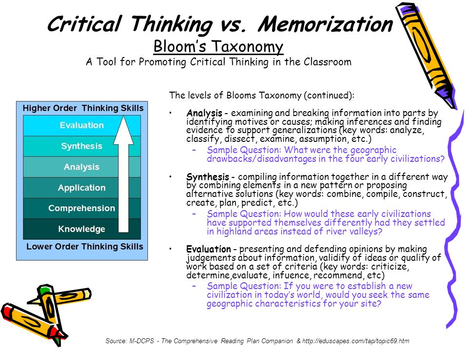 Critical Thinking vs. Memorization Bloom's Taxonomy A Tool for Promoting Critical Thinking in the Classroom