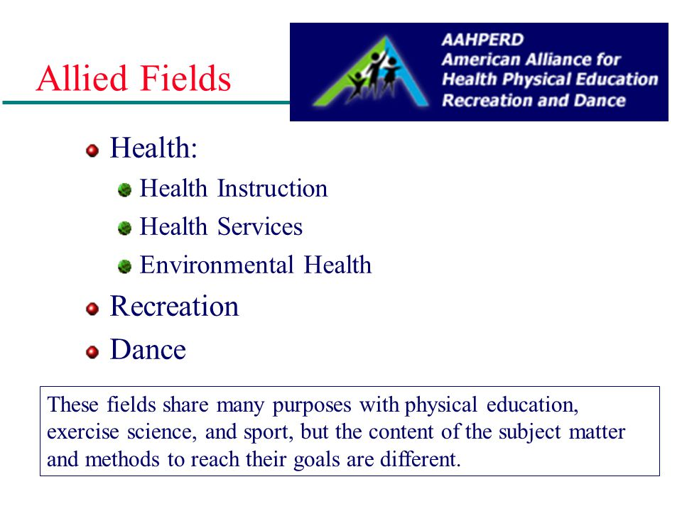 Allied Fields Health: Recreation Dance Health Instruction