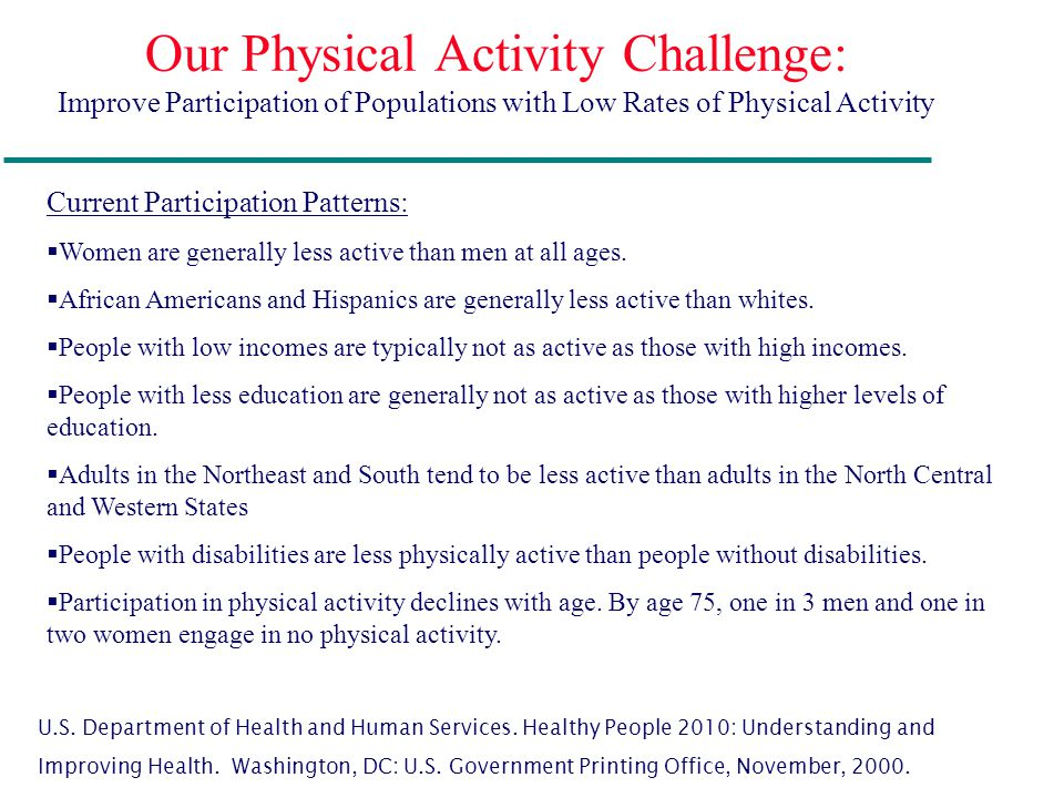 Our Physical Activity Challenge: Improve Participation of Populations with Low Rates of Physical Activity