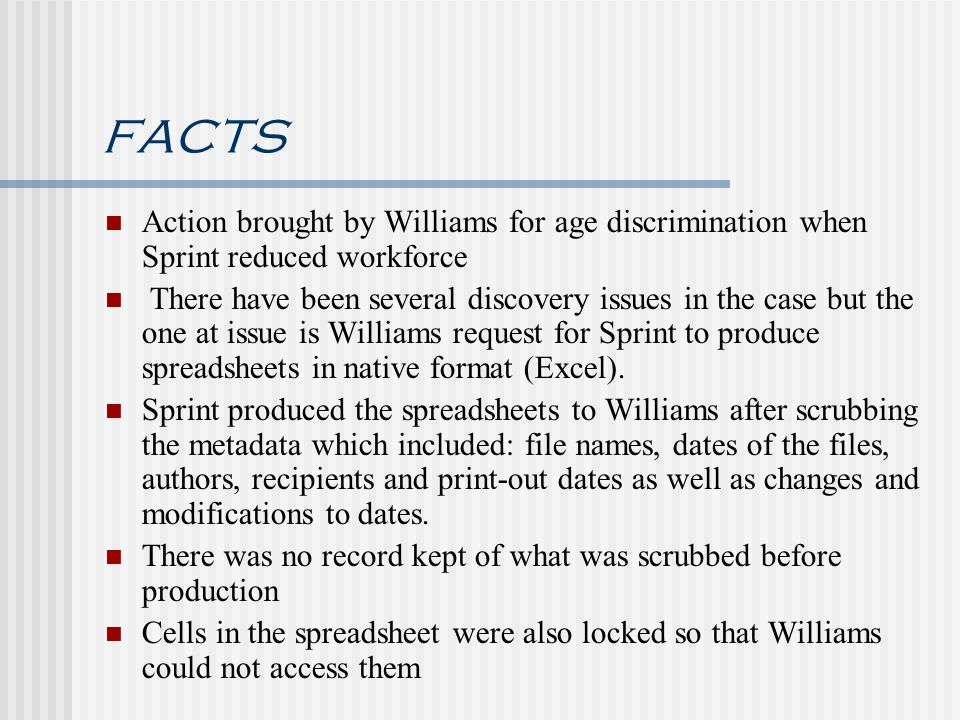 facts Action brought by Williams for age discrimination when Sprint reduced workforce.
