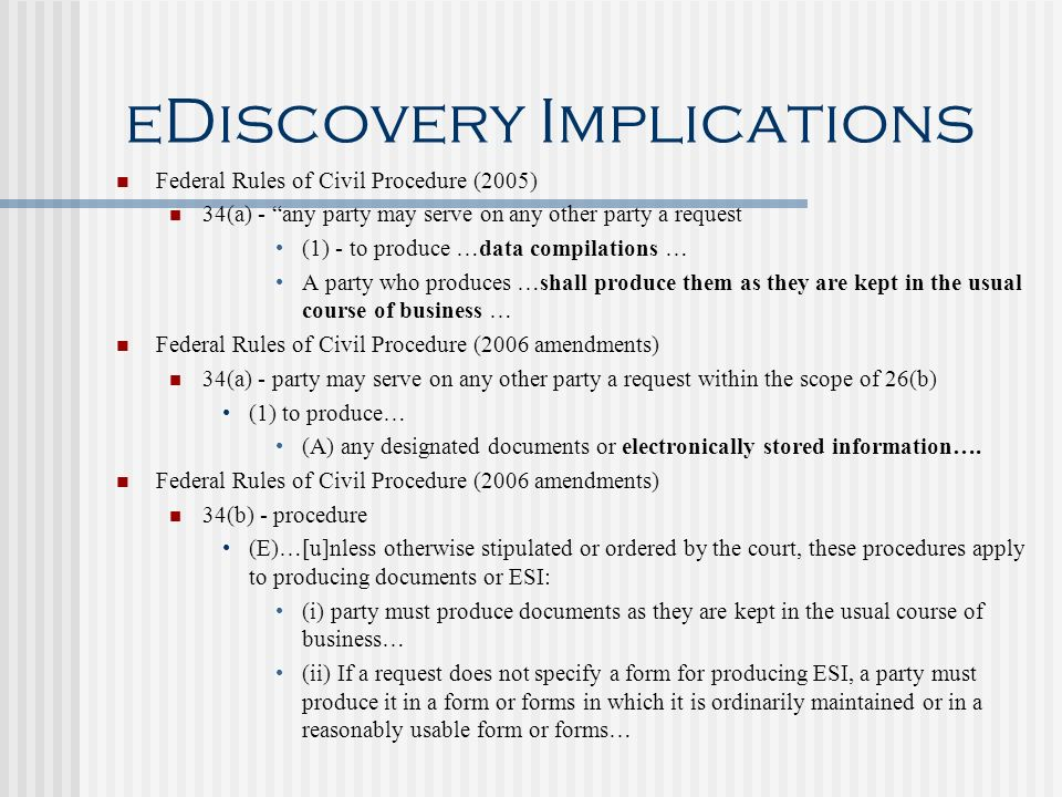 eDiscovery Implications
