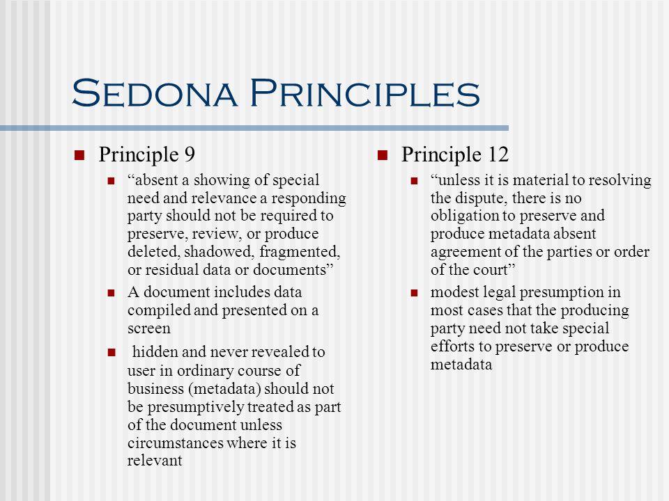 Sedona Principles Principle 9 Principle 12