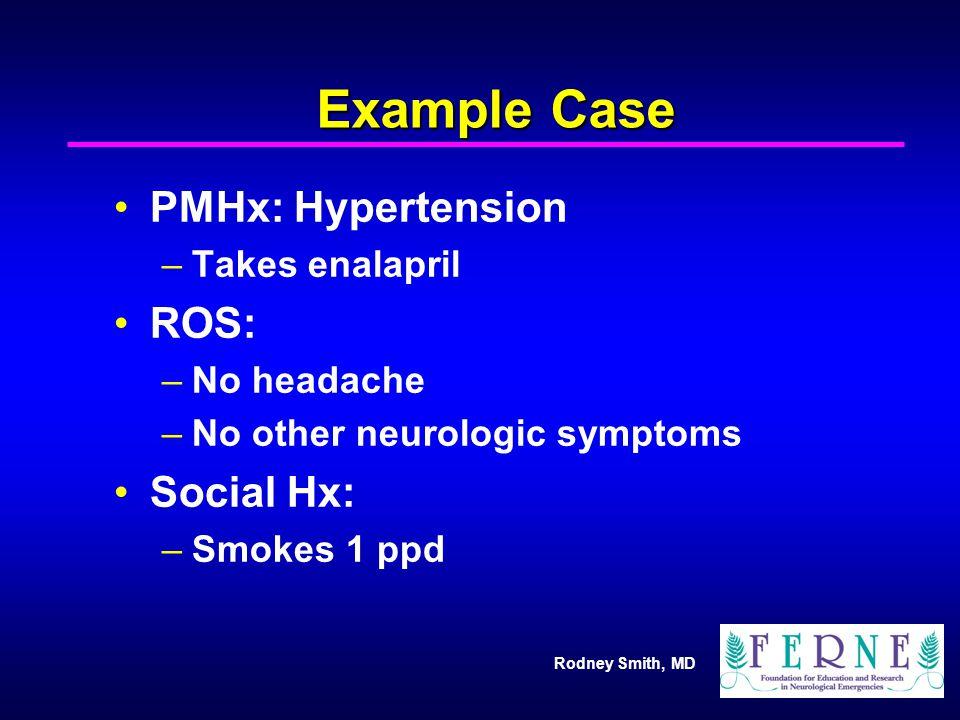 Example Case PMHx: Hypertension ROS: Social Hx: Takes enalapril