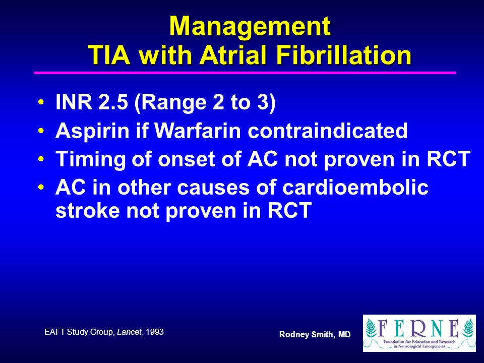 Management TIA with Atrial Fibrillation