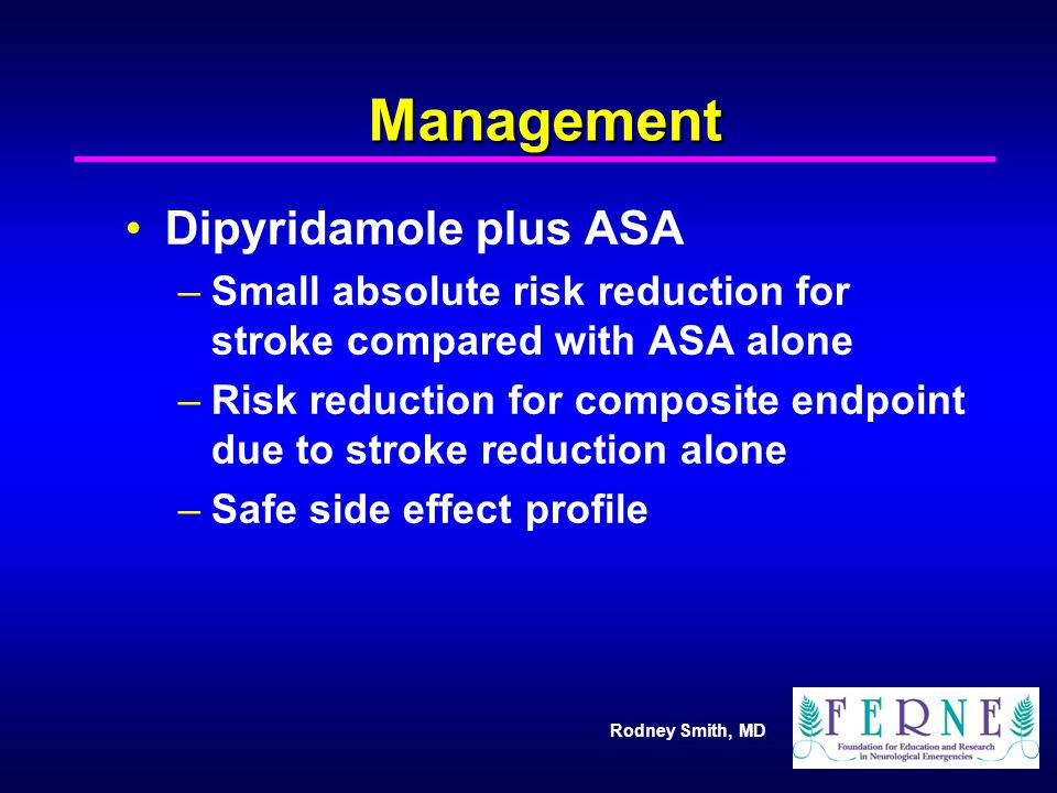 Management Dipyridamole plus ASA