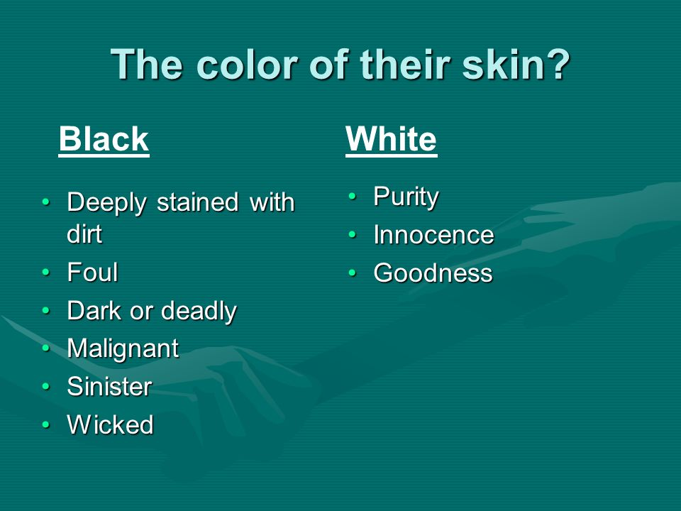The color of their skin Black White Purity Deeply stained with dirt