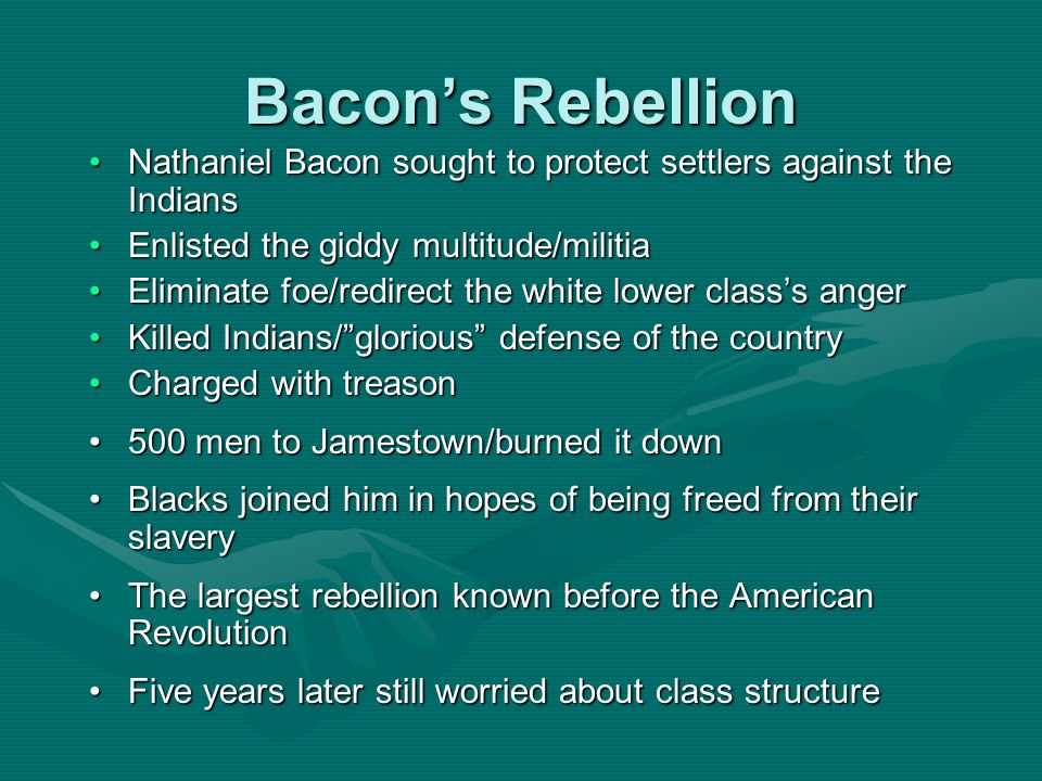 Bacon's Rebellion Nathaniel Bacon sought to protect settlers against the Indians. Enlisted the giddy multitude/militia.