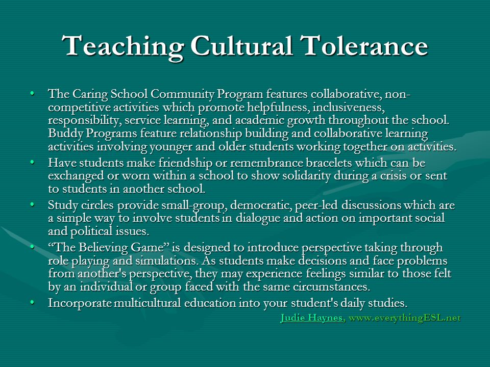 Teaching Cultural Tolerance