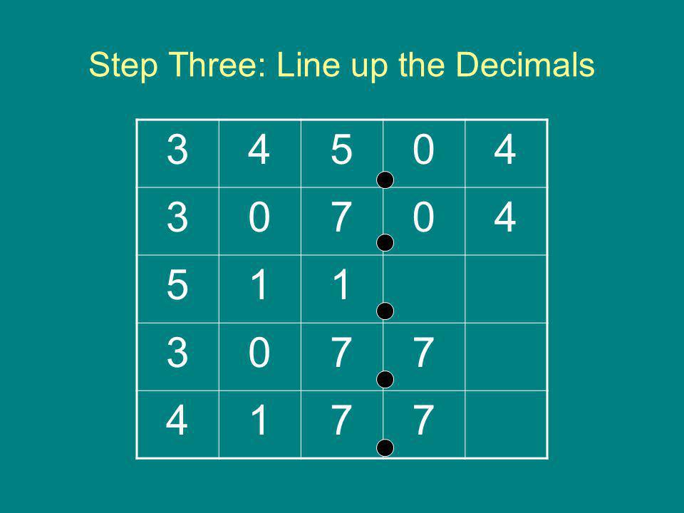 Step Three: Line up the Decimals