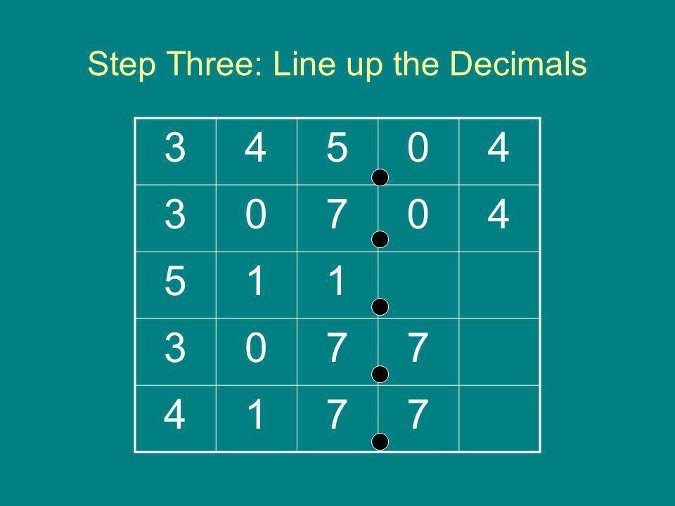 Step Three: Line up the Decimals
