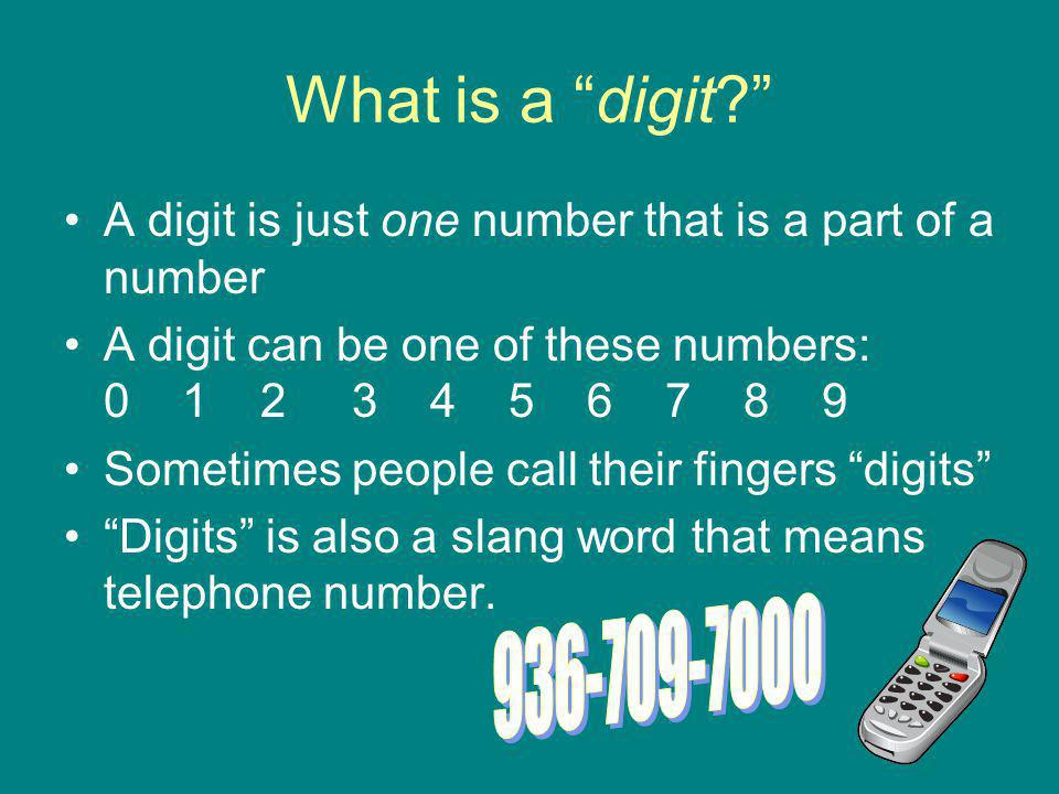 What is a digit A digit is just one number that is a part of a number.