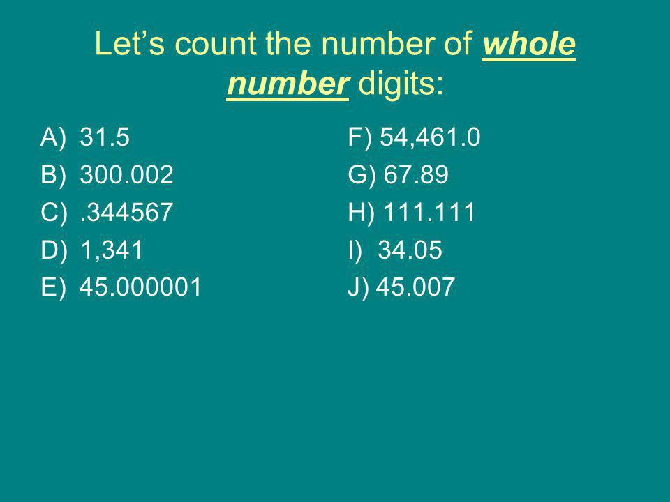 Let's count the number of whole number digits: